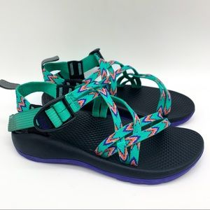 CHACO girls sandals, mint green and purple, 3.